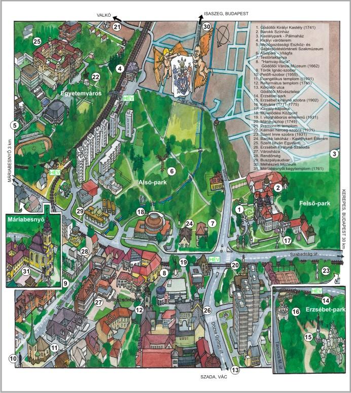Gkrte Godollo Godollo Turisztikai Latnivaloinak Terkepe